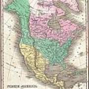 1827 Finley Map Of North America Poster