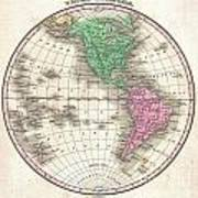 1827 Finley Map Of The Western Hemisphere Poster