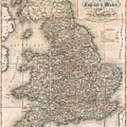 1830 Pigot Pocket Map Of England And Wales Poster