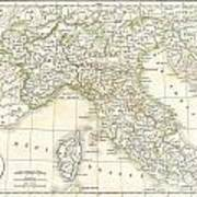 1832 Delamarche Map Of Northern Italy And Corsica Poster