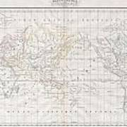 1832 Malte Brun Map Of The World On Mercator Projection Poster