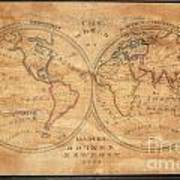 1833 School Girl Manuscript Wall Map Of The World On Hemisphere Projection  Poster