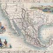 1851 Tallis Map Of Mexico Texas And California  Poster