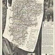 1852 Levasseur Map Of The Department L Aisne France Poster