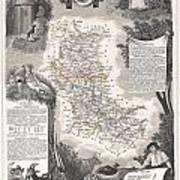 1852 Levasseur Mpa Of The Department De La Loire France Loire Valley Region Poster