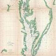 1852 Us. Coast Survey Chart Or Map Of The Chesapeake Bay And Delaware Bay Poster