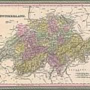 1853 Mitchell Map Of Switzerland  Poster