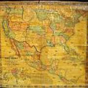 1854 Jacob Monk Wall Map Of North America Poster