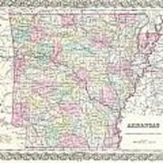 1855 Colton Map Of Arkansas Poster