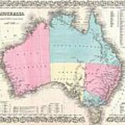 1855 Colton Map Of Australia Poster