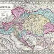 1855 Colton Map Of Austria Hungary And The Czech Republic Poster