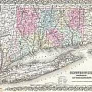 1855 Colton Map Of Connecticut And Long Island Poster