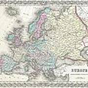 1855 Colton Map Of Europe Poster