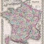 1855 Colton Map Of France Poster