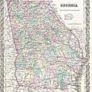 1855 Colton Map Of Georgia Poster
