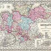 1855 Colton Map Of Hanover And Holstein Germany Poster