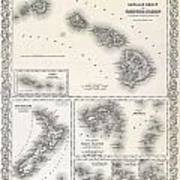 1855 Colton Map Of Hawaii And New Zealand Poster