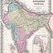 1855 Colton Map Of India Poster