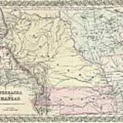 1855 Colton Map Of Kansas And Nebraska  Poster