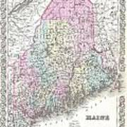 1855 Colton Map Of Maine Poster