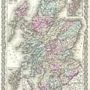 1855 Colton Map Of Scotland Poster