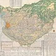 1856 Japanese Edo Period Woodblock Map Of Musashi Kuni Tokyo Or Edo Province Poster