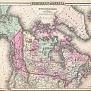 1857 Colton Map Of Canada And Alaska Poster