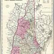 1857 Colton Map Of New Hampshire Poster