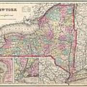 1857 Colton Map Of New York Poster