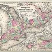 1857 Colton Map Of Ontario Canada Poster