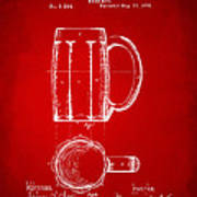 1876 Beer Mug Patent Artwork - Red Poster
