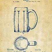 1876 Beer Mug Patent Artwork - Vintage Poster
