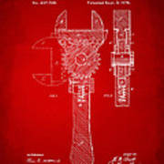 1878 Adjustable Wrench Patent Artwork - Red Poster