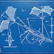 1879 Quinby Aerial Ship Patent Minimal - Blueprint Poster by Nikki Marie Smith