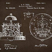 1881 Alexander Graham Bell Electric Call Bell Patent Espresso Poster