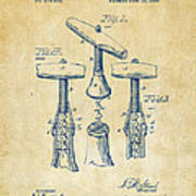 1883 Wine Corckscrew Patent Artwork - Vintage Poster