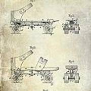 1885 Roller Skate Patent Drawing Poster