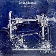 1885 Sewing Machine Patent Drawing Blue Poster