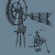 1889 Windmill On Blue Poster
