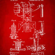 1890 Bottling Machine Patent Artwork Red Poster