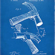 1890 Hammer Patent Artwork - Blueprint Poster