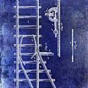 1890 Railway Switch Patent Drawing Blue Poster