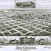 1890 Vintage Map Of Seymour Texas Poster
