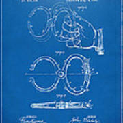 1891 Police Nippers Handcuffs Patent Artwork - Blueprint Poster