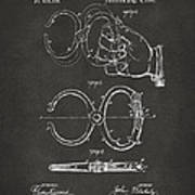 1891 Police Nippers Handcuffs Patent Artwork - Gray Poster