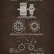 1891 Tesla Electro Magnetic Motor Patent Espresso Poster