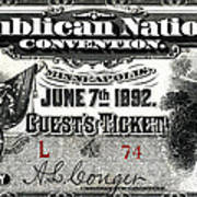 1892 Republican Convention Ticket Poster