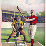 1895 Batter Up At Home Plate Poster by Daniel Hagerman
