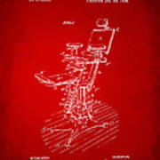 1896 Dental Chair Patent Red Poster