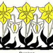 1897 Jugend Print Art Nouveau Motifs Flowers Narcissus Daffodil  Poster